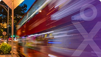 A fast moving bus