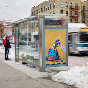 Picture of bus shelter with art